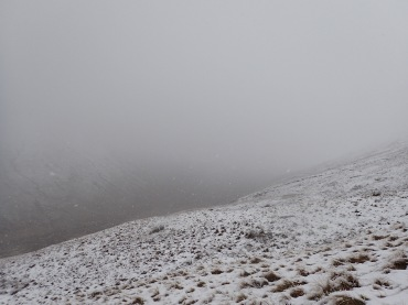 Snowing on the way up